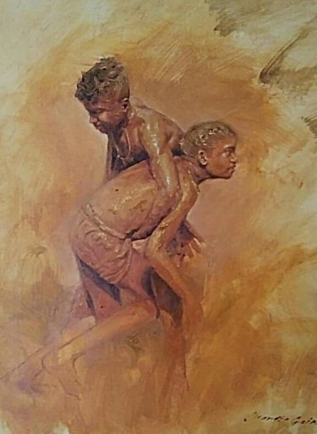 Figurative Oil Art Painting title 'Celebrations Born To Live 4' by artist Jitendra Gaikwad