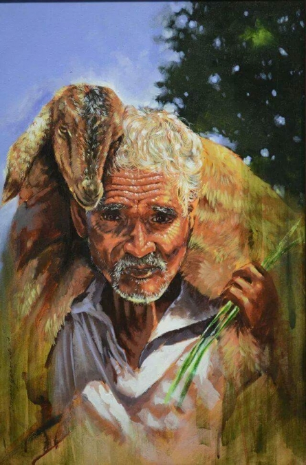 Figurative Oil Art Painting title Farmer With Goat by artist Jitendra Gaikwad