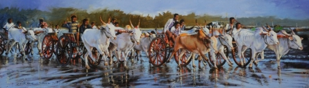 Figurative Oil Art Painting title 'March Toward Succses' by artist Jitendra Gaikwad