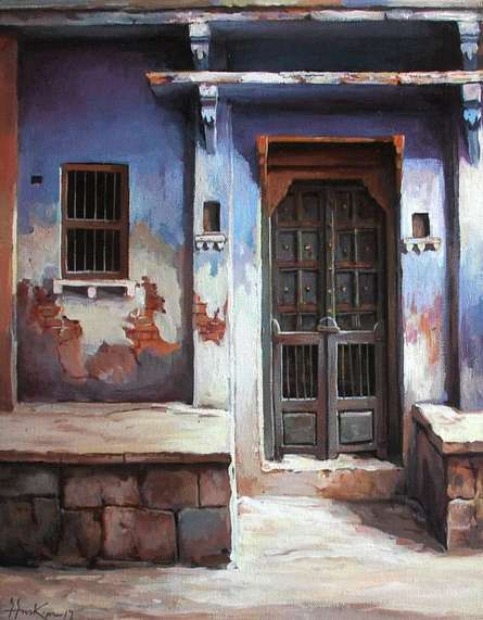 Shuvendu Sarkar | Acrylic Painting title A Doorway on Canvas