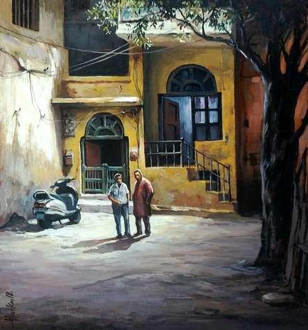Alleyway | Painting by artist Shuvendu Sarkar | acrylic | Canvas