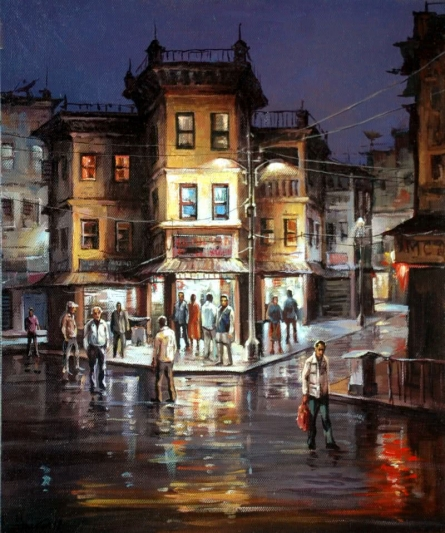 City Square | Painting by artist Shuvendu Sarkar | acrylic | Canvas