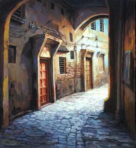 Shuvendu Sarkar | Acrylic Painting title Laneway 3 on Canvas
