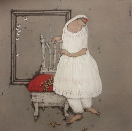 Figurative Acrylic Art Painting title 'Dancer' by artist Mintu Mallick
