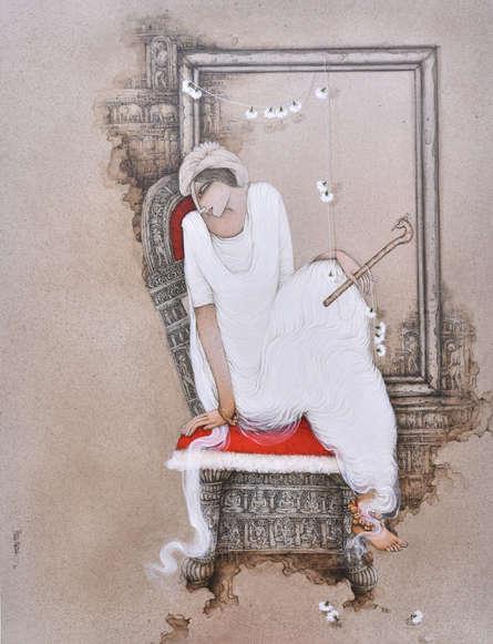 Figurative Acrylic Art Painting title Krishna by artist Mintu Mallick