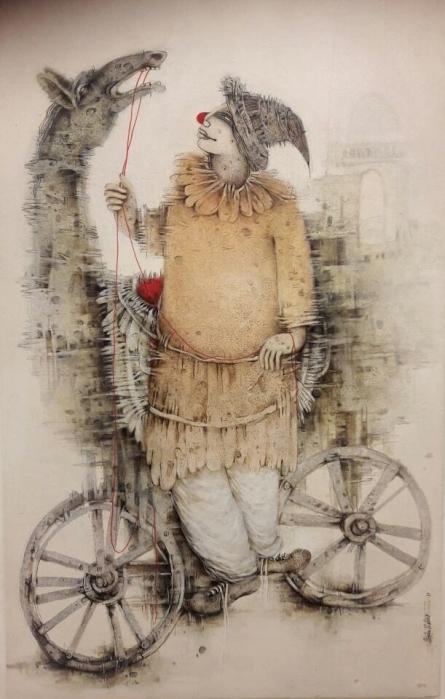 Figurative Acrylic Art Painting title 'Untitled 1' by artist Mintu Mallick