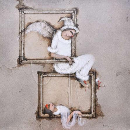 Figurative Acrylic Art Painting title Untitled 13 by artist Mintu Mallick