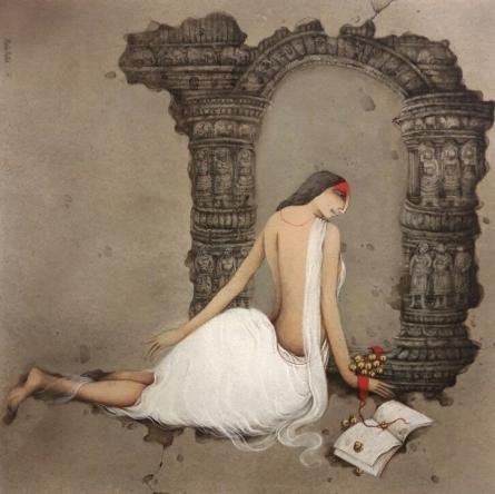 Figurative Acrylic Art Painting title 'Untitled 5' by artist Mintu Mallick