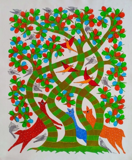 Choti Gond Artist | Gond Traditional art title Animals Under The Tree on Canvas | Artist Choti Gond Artist Gallery | ArtZolo.com