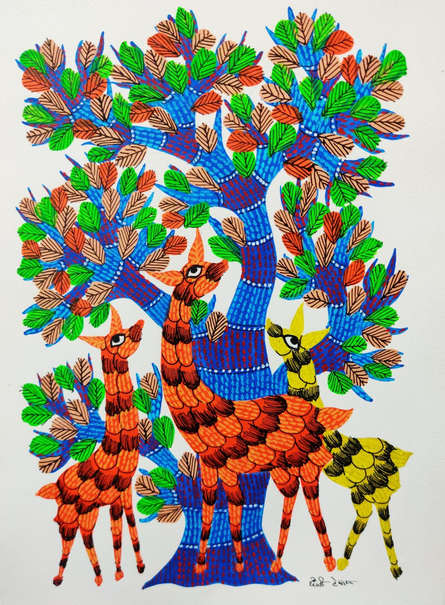 Choti Gond Artist | Gond Traditional art title Animals Under The Tree on Paper | Artist Choti Gond Artist Gallery | ArtZolo.com