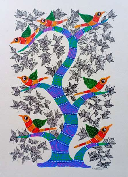 Traditional Indian art title Birds 1 on Paper - Gond Paintings