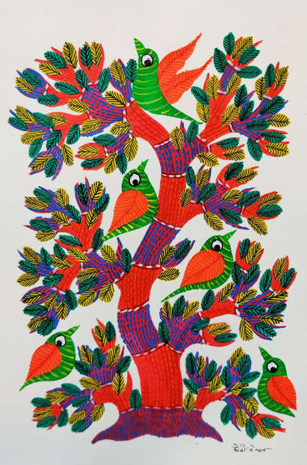 Traditional Indian art title Birds 10 on Paper - Gond Paintings