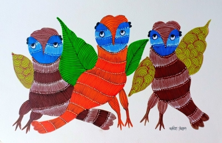 Traditional Indian art title Birds 2 on Paper - Gond Paintings