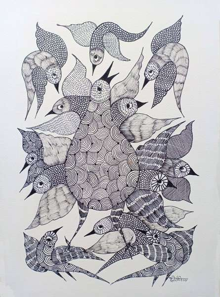 Traditional Indian art title Birds 4 on Paper - Gond Paintings