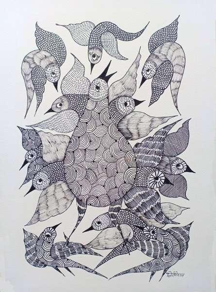 Choti Gond Artist | Gond Traditional art title Birds 4 on Paper | Artist Choti Gond Artist Gallery | ArtZolo.com