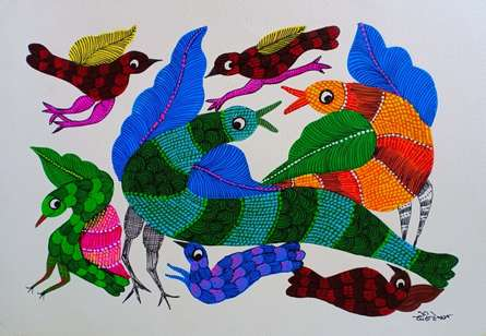 Traditional Indian art title Birds 5 on Paper - Gond Paintings
