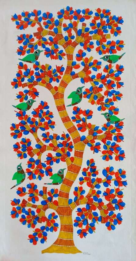 Traditional Indian art title Birds 9 on Canvas - Gond Paintings