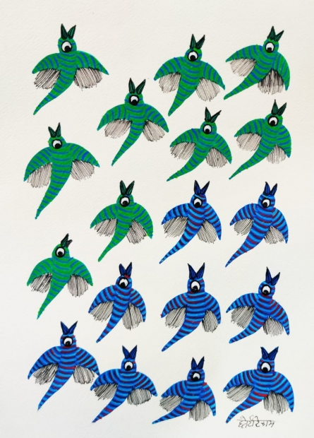 Traditional Indian art title Birds 9 on Paper - Gond Paintings