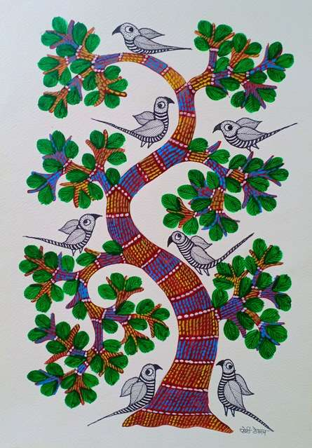 Traditional Indian art title Birds Under The Tree on Paper - Gond Paintings