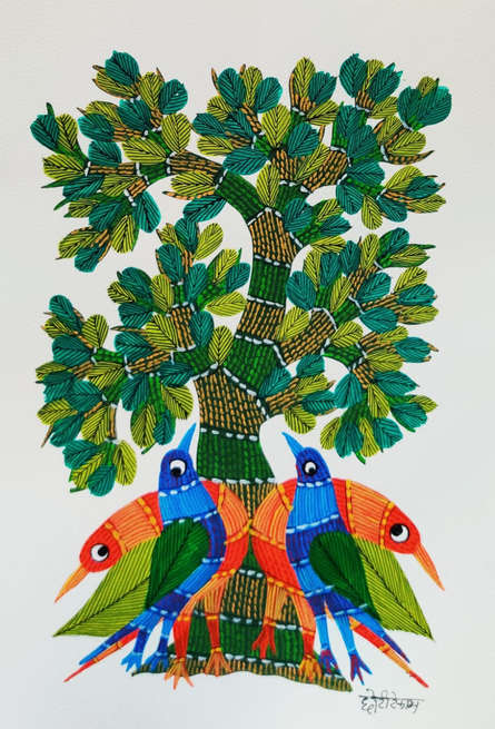 Traditional Indian art title Birds Under The Tree 2 on Paper - Gond Paintings