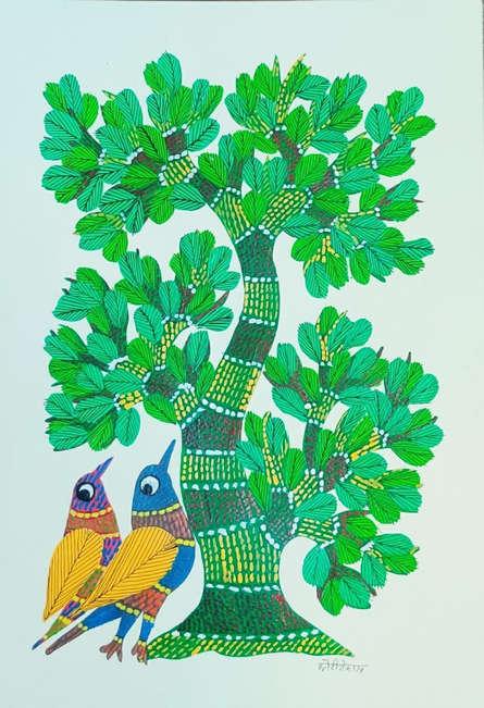 Choti Gond Artist | Gond Traditional art title Birds Under The Tree 3 on Paper | Artist Choti Gond Artist Gallery | ArtZolo.com