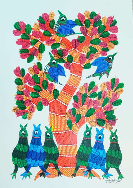 Choti Gond Artist | Gond Traditional art title Birds Under The Tree 4 on Paper | Artist Choti Gond Artist Gallery | ArtZolo.com