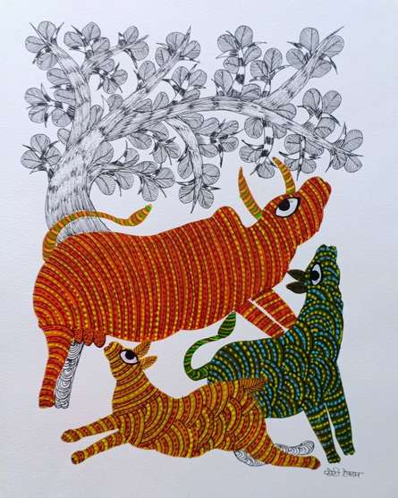 Traditional Indian art title Cow Under The Tree on Paper - Gond Paintings
