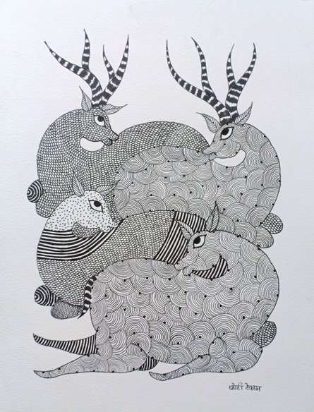 Traditional Indian art title Deer on Paper - Gond Paintings
