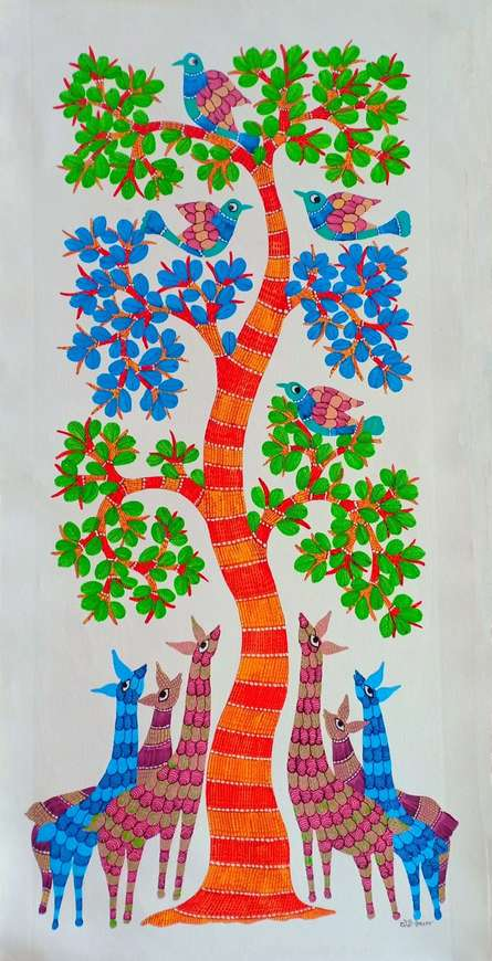 Traditional Indian art title Deers Under The Tree 7 on Canvas - Gond Paintings