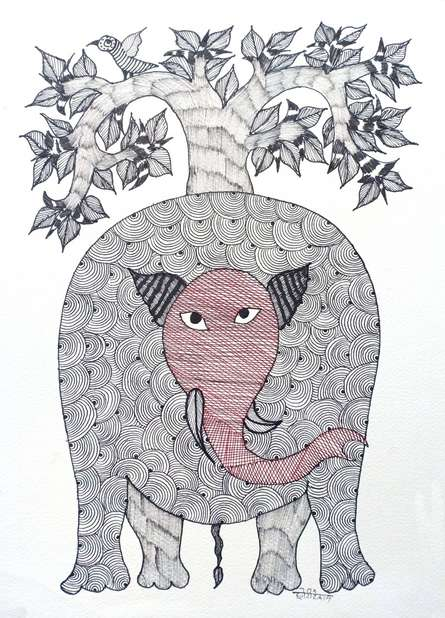 Traditional Indian art title Elephant on Paper - Gond Paintings
