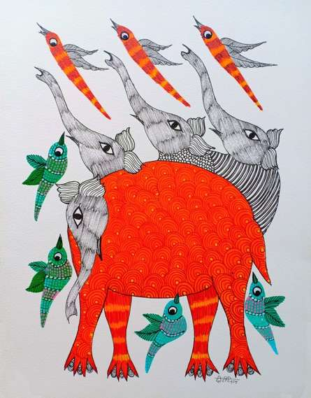 Traditional Indian art title Elephant 2 on Paper - Gond Paintings