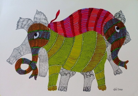 Traditional Indian art title Elephant 4 on Paper - Gond Paintings