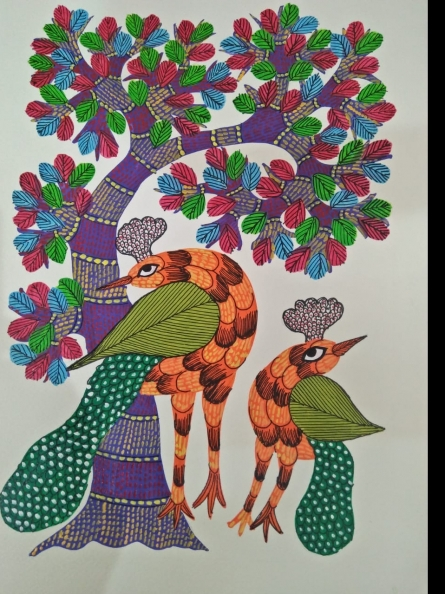 Traditional Indian art title Gond 12 on Paper - Gond Paintings