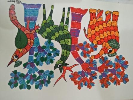 Choti Gond Artist | Gond Traditional art title Gond 14 on Paper | Artist Choti Gond Artist Gallery | ArtZolo.com