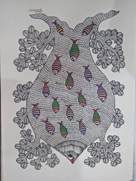 Traditional Indian art title Gond 21 on Paper - Gond Paintings