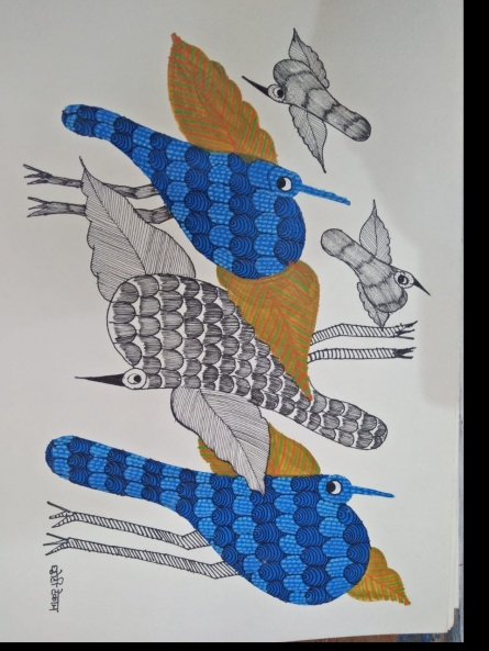 Traditional Indian art title Gond 22 on Paper - Gond Paintings