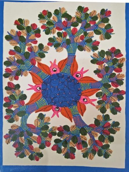 Choti Gond Artist | Gond Traditional art title Gond 4 on Paper | Artist Choti Gond Artist Gallery | ArtZolo.com