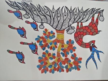 Choti Gond Artist | Gond Traditional art title Gond 5 on Paper | Artist Choti Gond Artist Gallery | ArtZolo.com