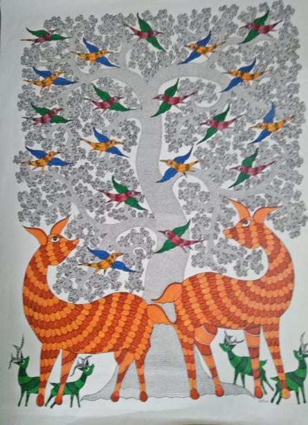 Choti Gond Artist | Gond Traditional art title Gond 8 on Paper | Artist Choti Gond Artist Gallery | ArtZolo.com
