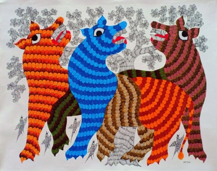 Traditional Indian art title Group Of Animal on Canvas - Gond Paintings
