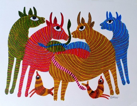 Traditional Indian art title Group Of Animals 1 on Paper - Gond Paintings
