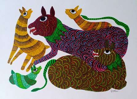 Traditional Indian art title Group Of Animals 2 on Paper - Gond Paintings