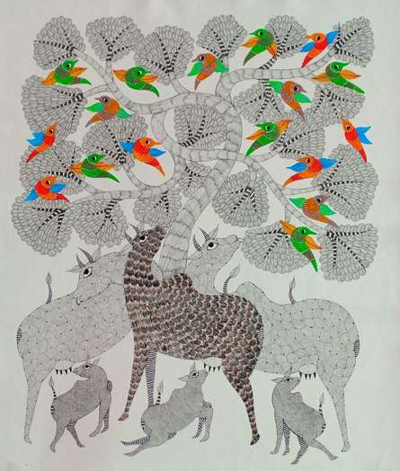 Traditional Indian art title Group Of Animals 5 on Canvas - Gond Paintings