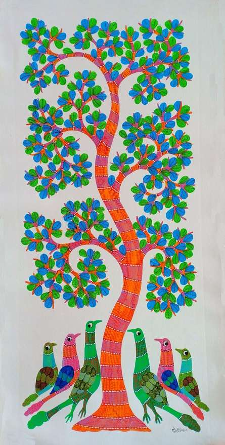 Choti Gond Artist | Gond Traditional art title Peacocks Under The Tree on Canvas | Artist Choti Gond Artist Gallery | ArtZolo.com