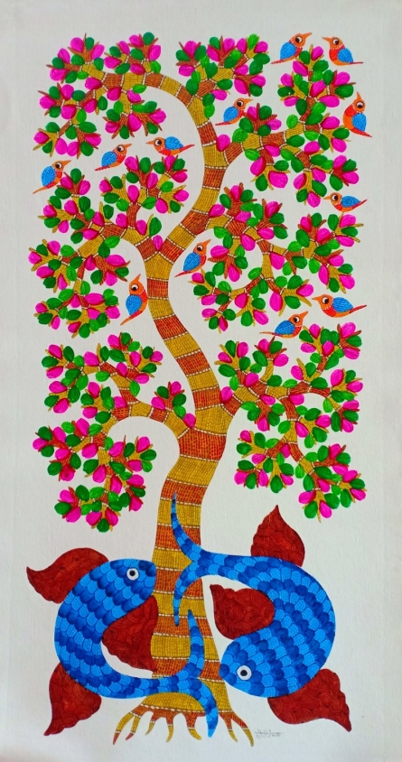 Traditional Indian art title Tree on Canvas - Gond Paintings