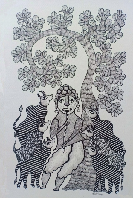 Traditional Indian art title Villager Playing Flute on Paper - Gond Paintings