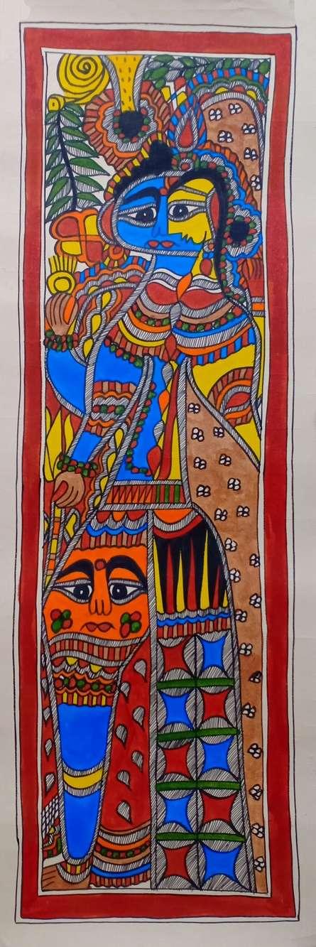 Traditional Indian art title Ardhanareeswara 2 on Paper - Madhubani Paintings