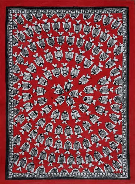 Traditional Indian art title Fish Madhubani on Paper - Madhubani Paintings