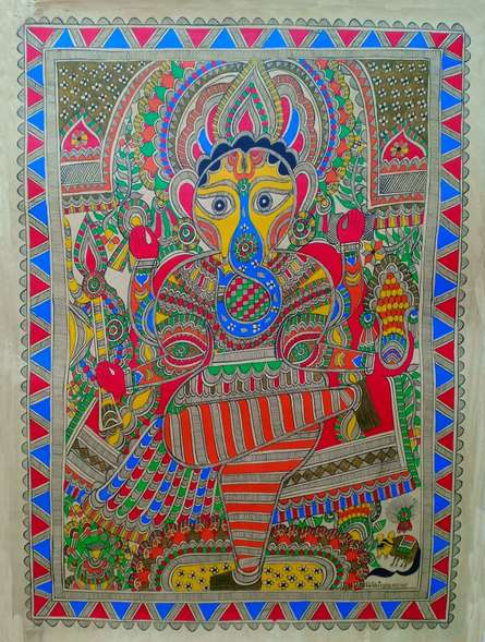 Traditional Indian art title Ganesha on Paper - Madhubani Paintings