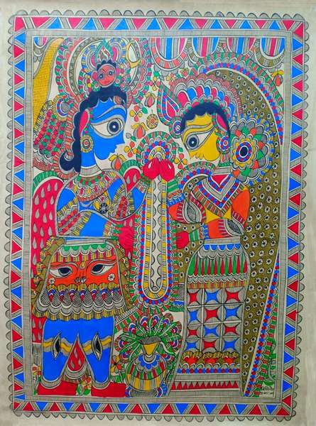 Traditional Indian art title Garland Ceremony on Paper - Madhubani Paintings